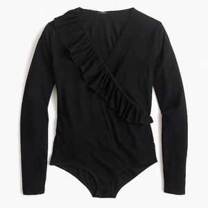 J. Crew Ruffle Front Wrap Bodysuit Black Large NWT